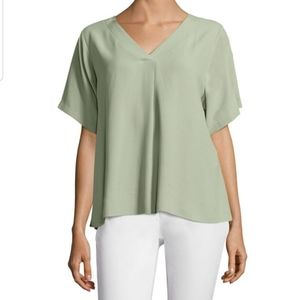 Eileen Fisher Sea Silk V-Neck Top XS
